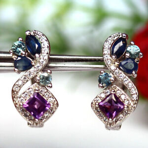 NATURAL PURPLE AMETHYST SAPPHIRE & CZ EARRINGS 925 SILVER STERLING