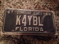 1967 Florida Radio Operator License Plate K4YBL