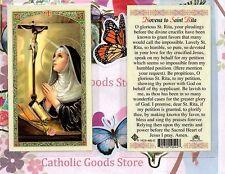 Saint Rita with Novena to St. Rita - Laminated Holy Card