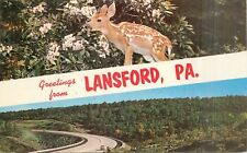 Greetings from Lansford Pennsylvania PA pm 1966 deer Postcard