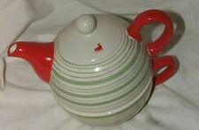 Porcelain Tea Pot & Cup RED GREEN WHITE STRIPED Perfect 4 Cappuccino