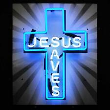 "Jesus Saves Cross Neon Sign - Church - Bible - Christ - 24"" x 20"""