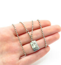 HELLO KITTY 925 Silver - Etched Hello Kitty Ball Bead Chain Necklace - N2968