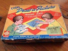Vintage codeg 1950 dibujar el cuadro trazado Pizarra Juego En Caja Antiguo Juguete
