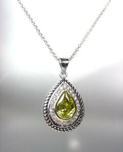 EXQUISITE 18kt White Gold Plated Cable Olive Green CZ Tear Drop Pendant Necklace
