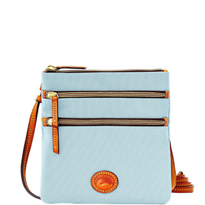NWT DOONEY & BOURKE Nylon North South Triple Zip Crossbody Light Blue - $89