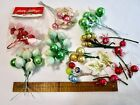 VINTAGE GLASS BALL STEM PICKS LOT TAIWAN LEE WARDS PINK RED GOLD CRAFT CHRISTMAS