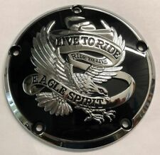 Black w/Chrome Live to Ride 5 Hole Derby Cover for Harley Twin Cam