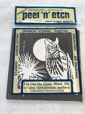 Owl Peel N Etch Pre Cut Etching Stencil Armour Painting Engraving Vtg 7x7