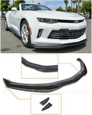 For 16-18 Camaro RS T6 Style PRIMER BLACK Front Lip Splitter CARBON Side End Cap