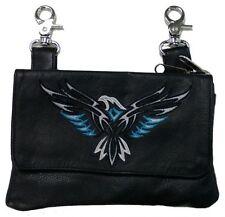 Genuine Leather Belt Bag - Hip Purse - Embroidered Eagle - Teal Silver - Biker