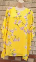 SUSAN GRAVER YELLOW LILAC FLORAL ORCHIDS KAFTAN LONG TOP BLOUSE TUNIC S M
