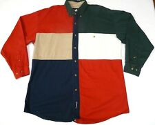 Vtg Catalina Large Button Front Shirt Red White Blue Green Color Block Cotton