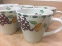 Farberware ORCHARD 3060 Coffee Cups Mugs Fruit Cherry Pear Apple Grape (6)