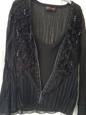 Gorgeous black diamante chiffon top  & jacket size 14-18