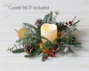 "New Primitive Christmas ORANGE SLICE PINE CONE EUCALYPTUS CANDLE RING Wreath 4"""