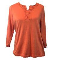Allison Daley M Top Shirt Orange Casual Floral Lace 3/4 Sleeve