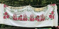 Vintage Christmas Tablecloth Candles Poinsettias red green white large 60 x 90