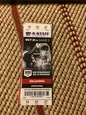 2017 Oklahoma Sooners Football Ticket Stub Ou Norman Kansas State Wildcats Ksu