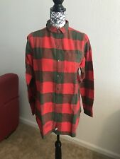 WOOLRICH Oxbow Bend Tunic Red Green Plaid Long Button Up Sz S NWT $65