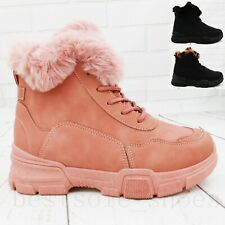 LADIES WOMEN ARMY COMBAT FLAT GRIP SOLE LACE UP WINTER ANKLE BOOTS SHOES SIZE