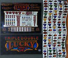 Igt Slot Machine Triple Double Lucky 7'S Top & Belly Glass & 5 Reel Strips