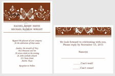 100 Personalized Custom Brown Scroll Butterfly Wedding Invitations Set