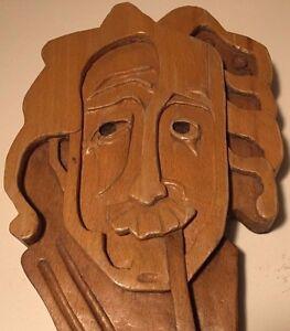 Vintage, 1976, Bulgarian Carved Wall-Plaque Albert Einstein w/Pipe wood FOLKART
