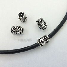 4 PC Antiqued Sterling Silver Scroll Heart Barrel Bead Spacer 8.9mm #33087