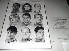 Star Trek Voyager Full Cast x9 Signed by cast Ltd Ed Sketch 734/1200 print