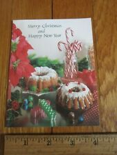 Vtg Christmas Card Candy Canes Ribbon Candy Bundt Cakes Sweets Treats Pic Unused