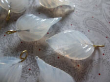 12 White Opal Leaf Charms Beads Leaves with Brass Loops 24mm X 14mm