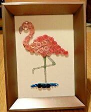 FLAMINGO PICTURE Sparkly Button Art; 7 x 5 ins. Pinks with blue; Hang or Stand