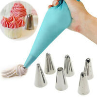 Cream Silicone Icing Piping Pastry Bag + 6x Nozzle Set Cake Decorating Tools