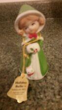 1978 Jasco Merri Bells Little Girl In Green With Muff And Kitten Bell Original