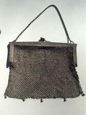 Antique Mesh Evening Bag Gothic German Victorian Silver-Tone Metal 6.5 X 5.5