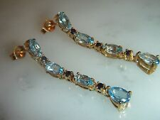 FINE, ART DECO, 9 CT GOLD EARRINGS WITH AQUAMARINE AND BLUE SAPPHIRE GEMS
