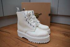 DR MARTENS MOLLY GLTR Iridescent White Glitter Platform Boots UK 8 EU 42 US 10