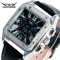 JARAGAR Auto Date Army Square Shape Military Automatic Mechanical Wrist Watch