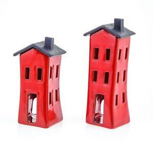 Set of 2 Modern Ceramic Tea-light Candle Lanterns, House Design, Red Color