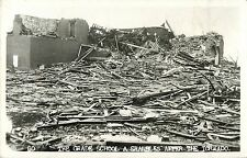 "View of the Grade School Ruins, ""Shambles After The Tornado"" Udall KS RPPC 1955"