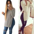 BD  O-neck Long Sleeve Side Split Long Knitwear Women Casual Tops Pullover