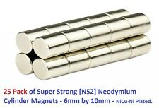 25 Value Pack - Maximum Strength N52 Neodymium Cylinder Magnets!  6mm by 10mm