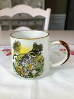 Vintage Otagiri Yellow & Brown Speckled Stoneware Mug/Cup Hand Painted Owl Japan