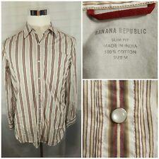 BANANA REPUBLIC Men's Medium Pearl Snap Slim Fit Medium Striped Shirt EUC Beige