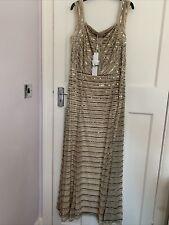 New Sequinned Nude Full Length Ballroom Dress Size 16-18