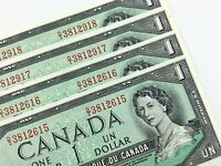 1954 Canada 1 Dollar Consecutive Uncirculated DI Lawson Bouey Banknote R290