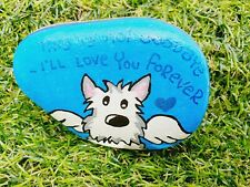 Hand painted pebble stone art Pet Dog with angel wings Memorial Rainbow Bridge