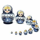 Russian Nesting Dolls 10pcs Set Hand Painted Tiny Blue Matryoshka Babushka Gift