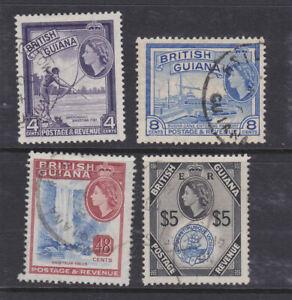 British Guiana 1954 Used Definitives part set $5 Waterfall Queen Elizabeth Sugar